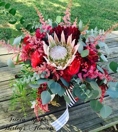 Burgandy bridal bouquet with king protea