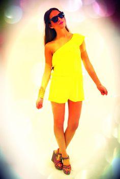 Mixology Neon Romper in Yellow