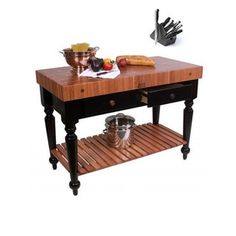 Kitchen Island 48 X 24 boos gathering block iii - 48x24 butcher block table, 3 wicker