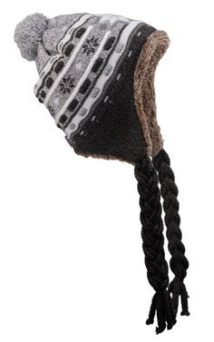 Brown Winter Hat - Stripes & Flowers with Inside Lining at Polart - www.PolandByMail.com