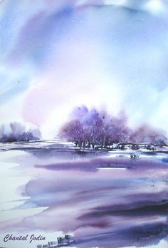 Mor/Purple Wallpapers ⚘ Watercolor Landscape, Abstract Watercolor, Watercolour Painting, Landscape Art, Painting & Drawing, Landscape Paintings, Watercolors, Watercolor Artists, Watercolor Architecture