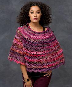 Dubonnet Poncho Crochet Pattern  #crochet  #redheartyarns