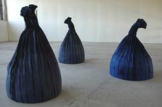 Kerstin Lindström, Sweden ~ Collectors (3 pieces, mixed media) 110 x 70 cm. via Nordic Textile Art Gallery | Artist's Statement