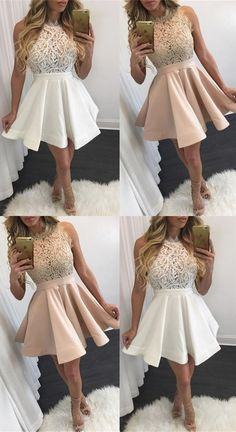 short a-line homecoming party dresses, chic short prom dresses, simple fashion semi formal dresses.