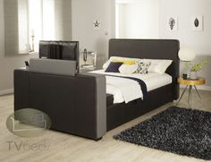 iMedia Black/Grey with Storage- 4ft6 Double TV Bed + FREE Delivery & Installation Tv Beds, Beds For Sale, Beds Online, King Size, Free Delivery, Mattress, Black And Grey, Storage, Furniture