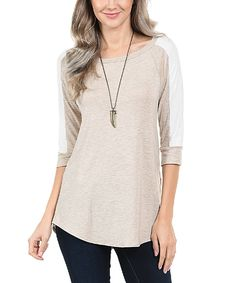Loving this Khaki & Ivory Stripe Color Block-Sleeve Tunic on #zulily! #zulilyfinds