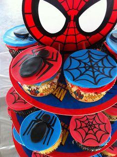 Spiderman Cupcake Tower