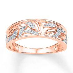 Diamond Leaf Ring 1/8 ct tw Round-cut 10K Rose Gold