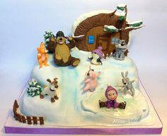 Masha and the Bear Masha Cake, Baby Birthday, Birthday Parties, Birthday Cakes, Single Layer Cakes, Masha And The Bear, Bear Party, Fondant, Bear Theme