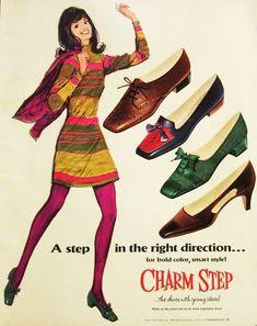 Charm Step shoe print ad illustration flats pumps heels low tights green brown black blue that girl! 60s Shoes, Shoes Ads, Retro Shoes, Women's Shoes, Footwear Shoes, Vintage Mode, Vintage Fur, Vintage Shoes, Vintage Outfits