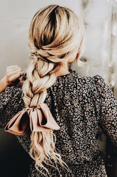 long blonde braids into bow | long hairstyles | long hair ideas