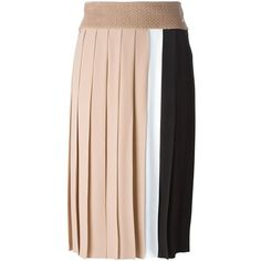 Nº21 colour block pleated skirt ($540) ❤ liked on Polyvore featuring skirts, brown, colorful skirts, multi color skirt, knee length pleated skirt, pleated skirt and pink pleated skirt