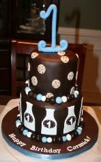 Cormick's 1st Birthday Cake! Milk and Cookies theme
