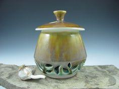Ceramic Lidded Garlic Jar in Aqua Blue Green by ShadyGrovePottery, $45.00