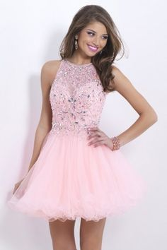 2015 Stunning Halter A Line Short/Mini Prom Dress Tulle With Beaded Lace Bodice Open Back $159.99