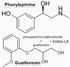 Entex LA (phenylephrine hydrochloride and guaifenesin). Phenylephrine Hydrochloride, a synthetic sympathomimetic agent, is a vasoconstrictor and pressor drug chemically related to epinephrine and ephedrine. Guaifenesin is an expectorant.