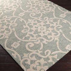 $462 for 8x10, Polypropylene Hand-hooked Galveston Green Indoor/Outdoor Floral Rug | Overstock.com