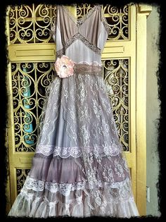 boho maxi dress large revived  taupe & whisper pink tulle chiffon lace petticoat by Mermaid Miss K