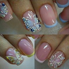 Beautiful Nail Designs To Finish Your Wardrobe – Your Beautiful Nails Butterfly Nail Designs, Butterfly Nail Art, Beautiful Nail Designs, Beautiful Nail Art, Blue Butterfly, Fancy Nails, Pretty Nails, Nail Polish Designs, Nail Art Designs