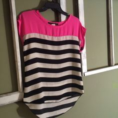 Striped Pink Chiffon Tee Shirt •Pre owned and excellent condition. •Cute high low hot pink and striped T-shirt. Fabric is light weight and sheer.  •Size S Tops