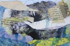 """Searching Nature  4"""" x 6"""" mixed media collage on paper"""