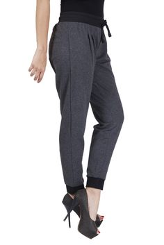 De Moza Ladies Knit Bottom Jogger Solid Cotton Melange Anthra Melange   #AW16 #palazzo #jogger #demoza #pants #fashionbloggers #longshrug #bloggerpost #bloggers #fashionlegging