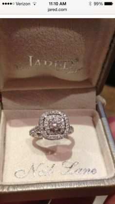 Neil Lane double halo. He went to Jared's! Dream Wedding, Wedding Day, Wedding Rings, Neil Lane, Halo, Heart Ring, Jewelry Accessories, Engagement Rings, Future