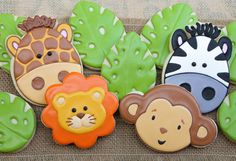 This dozen includes: 3 - Zebra cookies 3 - Lion cookies 3 - Giraffe cookies 3 - Monkey cookies These cookies are - in size. Lion Cookies, Monkey Cookies, Fancy Cookies, Cute Cookies, Cupcake Cookies, Cookies Et Biscuits, Giraffe Cookies, Sugar Cookies, Cupcake Toppers