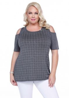 Plus size fashion by Belldini features a short sleeve open shoulder look.