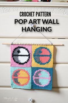 Unique Crochet, Crochet Art, Handmade Wall Hanging, Hanging Wall Art, Pop Art, Star Wars Crochet, Crochet Wall Hangings, Modern Crochet Patterns, Crochet Home Decor