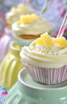 Coconut Cupcakes with Pina Colada Buttercream