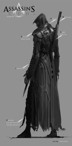 Assassin's Creed Ezio Re-Design (Nano Suit) Character Concept, Character Art, Character Design, Armor Concept, Concept Art, Ninja Assassin, Cyberpunk, Assassin's Creed Black, Dark Fantasy Art
