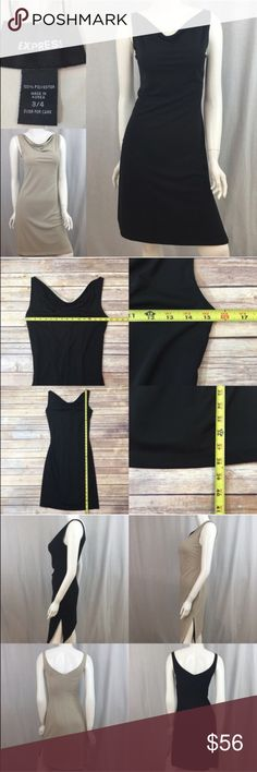 💄Size 3/4 Express Reversible Dress Black/ Nude Measurements are in photos. Normal wash wear, a few light marks on the nude side. no other flaws. C3/24  I do not comment to my buyers after purchases, do to their privacy. If you would like any reassurance after your purchase that I did receive your order, please feel free to comment on the listing and I will promptly respond. I ship everyday and I always package safely. Thanks! Express Dresses Midi