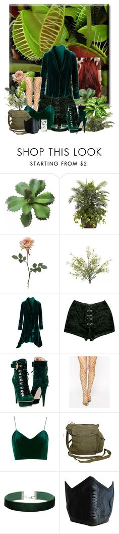 """(Rose Isley) Assault On the asylum"" by karabear3256 ❤ liked on Polyvore featuring Nearly Natural, INC International Concepts, Paolo Shoes, ASOS, GAS Jeans, Miss Selfridge and ban.do"