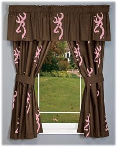 Browning® Buckmark Pink and Brown Rod Pocket Drapes or Valance | Bass Pro Shops