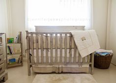 Adair's Gender Neutral, Vintage Lamb Themed Baby Nursery in CeCe Caldwell's Young Kanses Wheat | Painted Furniture | Distressed | Upcycle | Newborn | Farm house chic | owls | handmade quilt | clay and chalk paint | refinished crib | painted crib | picture boards | newborn photography