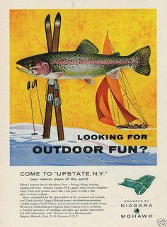 1959 NIAGARA MOHAWK Power Upstate NY Salmon Skis Sailboat Dean Ellis Art Ad
