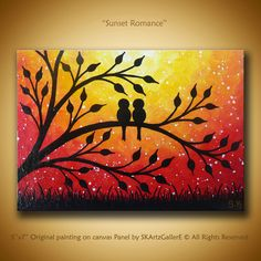 Sunset Art Artwork Original Mini Painting Contemporary Painting Love Birds Birds on Tree Art Mini Canvas Art Love Small Art Don . Oil Pastel Paintings, Oil Pastel Drawings, Oil Pastel Art, Art Drawings, Oil Pastels, Sunset Paintings, Easy Canvas Painting, Galaxy Painting, Sunset Painting Easy