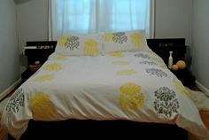 DuvetQueen size in white with yellow & grey Mantra by appetitehome, $120.00