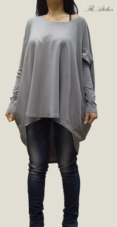 Gray Cotton Blouse /Oversized Blouse/Long Sleeved by FloAtelier