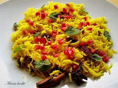 Vegetarian Recipes, Chicken Recipes, Food, Mint, Flavored Rice, Cooking Rice, Pomegranate, Vegetarian Food, Essen