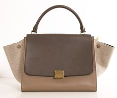 CELINE SATCHEL in LINEN & LEATHER