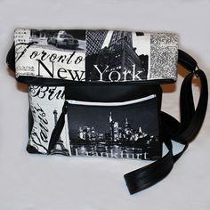 """CROSS BODY KABELKA UNISEX """"LETEM SVĚTEM"""" Módní trendy kabelka """"cross body"""" z černé koženky a designové bavlny se vzorem světových měst. Autorskou extravagantní kabelku jsem ušila z umělé kůže barvy černé a ze100 % bavlny s designem novin - světových měst. Bavlněné díly jsou zpevněné Ronopastem, který drží svůj neměnný tvar. Dno je vyztuženo pevnou klíženkou. ... Tvar, Unisex, Cross Body, Thats Not My, Crossbody Bag, Shoulder Bag, Shoulder Bags"""