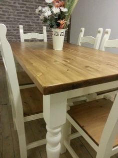 Shabby Chic Solid Pine Farmhouse Dining Table, chairs and bench, country style Painted Laura Ashley | Manor House, London | Gumtree