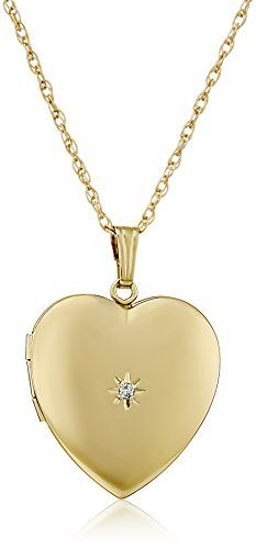 14k Yellow GoldFilled DiamondAccent Heart Locket Necklace 20 ** You can find more details by visiting the image link.