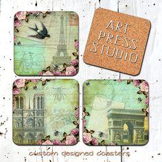 Vintage Parisd Coasters Shabby Chic Paris by ArtPressStudio