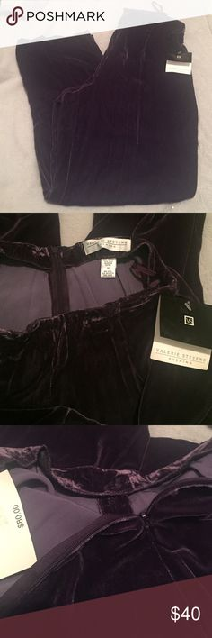 Valerie Stevens evening velvet pants size 10 NWT New with tags velvet purple pants. Zipper on back. 82% rayon 18% silk. Marks in the front  of waist. (I believe from hangers) not very noticeable especially if you don't tuck in your shirt) Valerie Stevens Pants