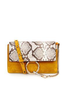 Faye small python and suede cross-body bag   Chloé   MATCHESFASHION.COM