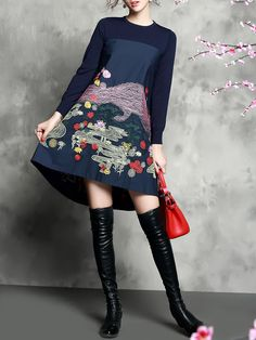 Embroidery Knitting Midi Dress