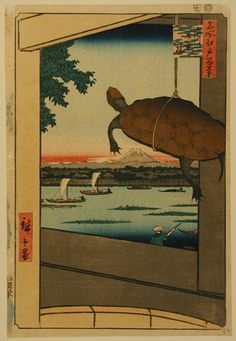 Utagawa Hiroshige I (Japanese, 1797 - 1858) Turtle Dangling from the Pole of a Vendor's Tub on Mannen Bridge in Fukagawa, 1857 Color woodblock print Overall: 14 1/16 x 9 9/16 in. (357 x 243 mm)